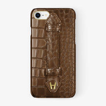 Alligator Finger Case iPhone 7/8 | Brown - Yellow Gold
