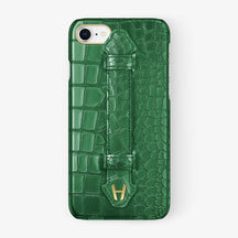 Alligator [iPhone Finger Case] [model:iphone-7-8-case] [colour:green] [finishing:yellow-gold] - Hadoro