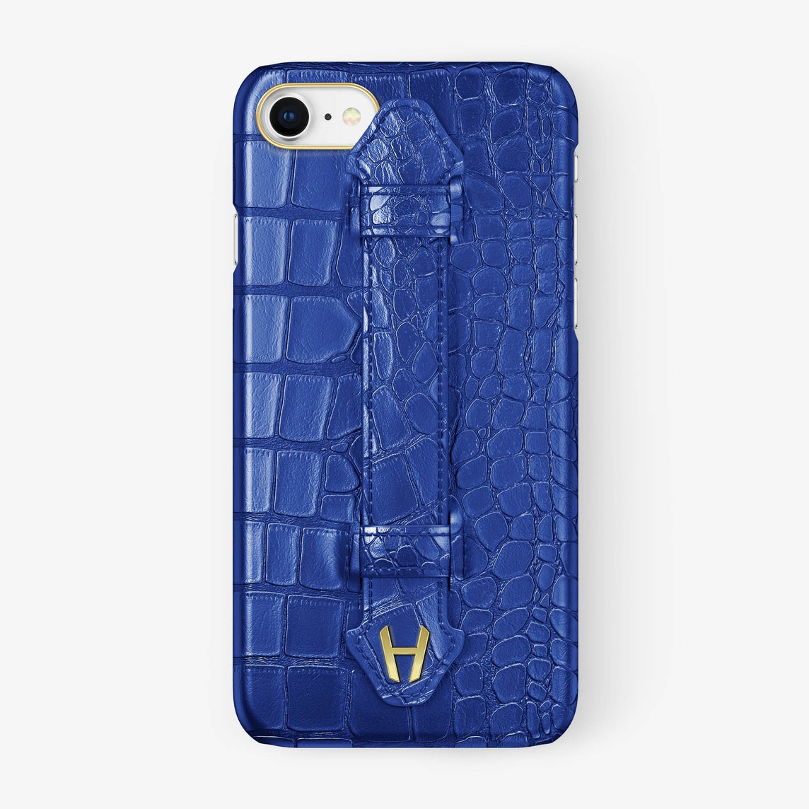 Alligator [iPhone Finger Case] [model:iphone-7-8-case] [colour:peony-blue] [finishing:yellow-gold] - Hadoro