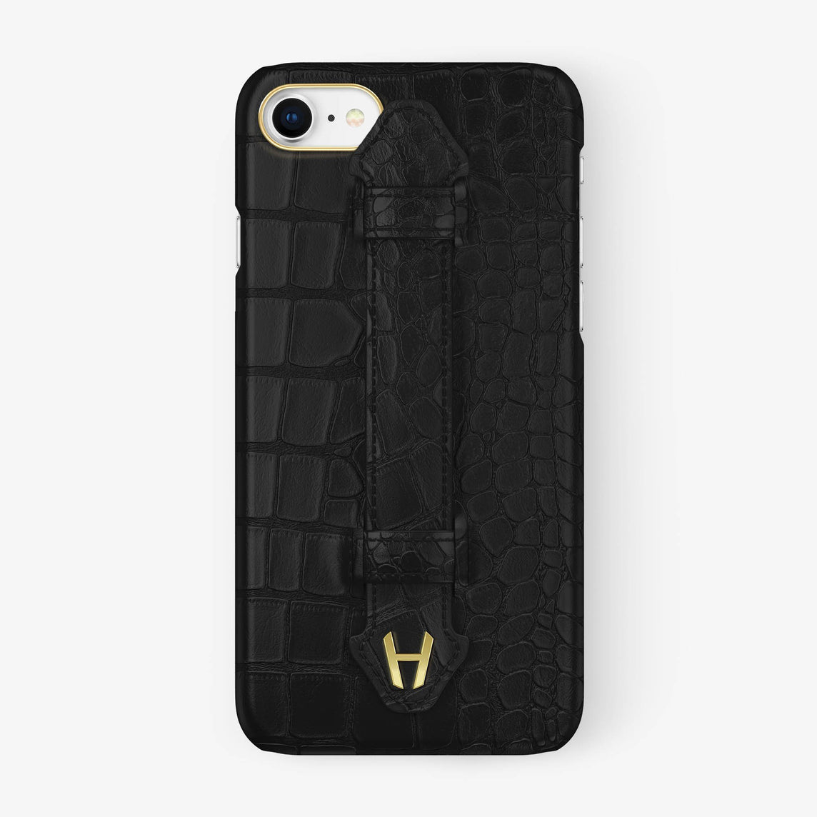 Alligator [iPhone Finger Case] [model:iphone-7-8-case] [colour:phantom-black] [finishing:yellow-gold] - Hadoro