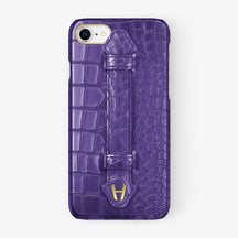 Purple Alligator iPhone Finger Case for iPhone 7/8 finishing yellow gold - Hadoro Luxury Cases