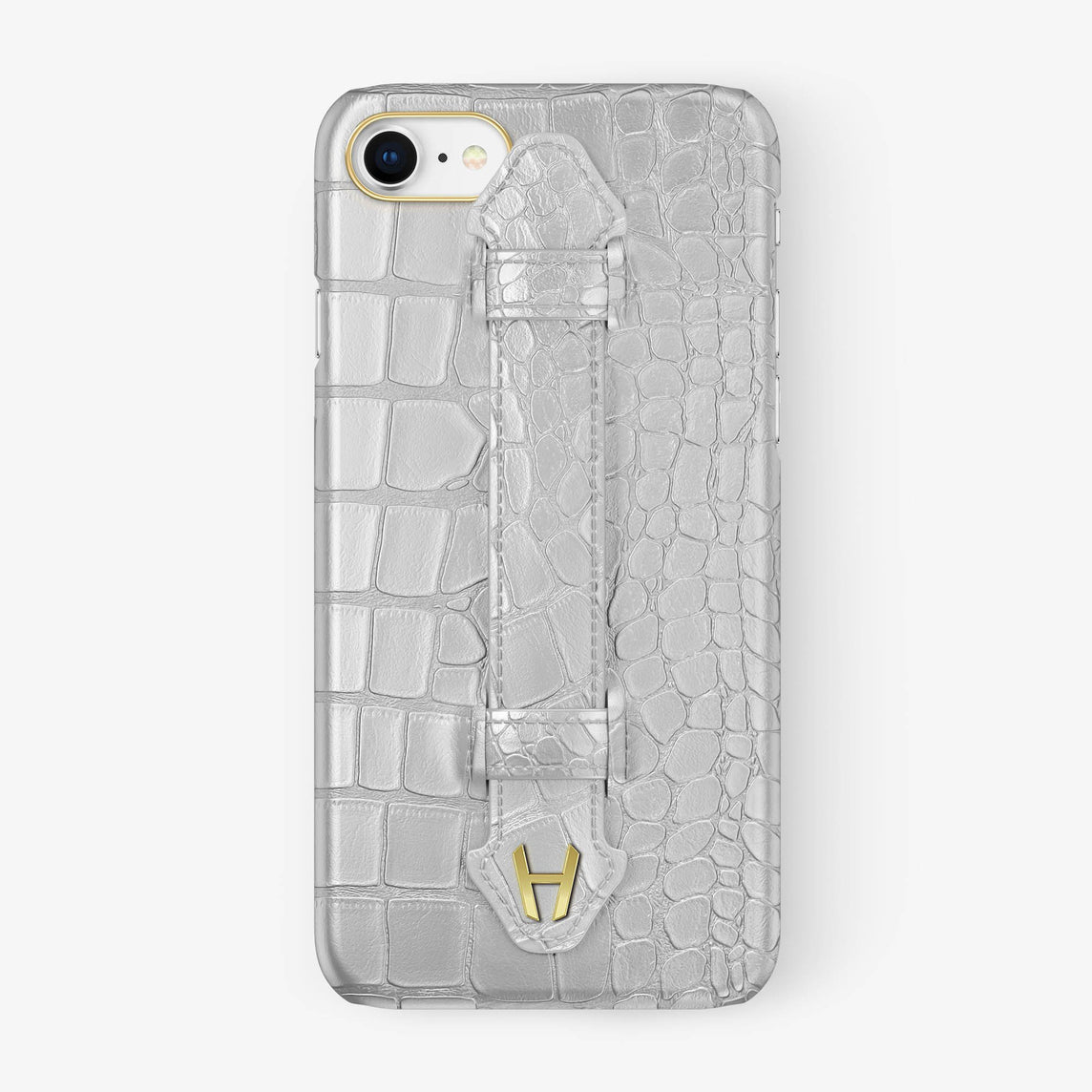 Alligator Finger Case iPhone 7/8 | White - Yellow Gold