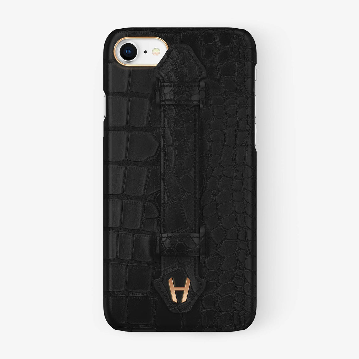 Alligator [iPhone Finger Case] [model:iphone-7-8-case] [colour:phantom-black] [finishing:rose-gold] - Hadoro