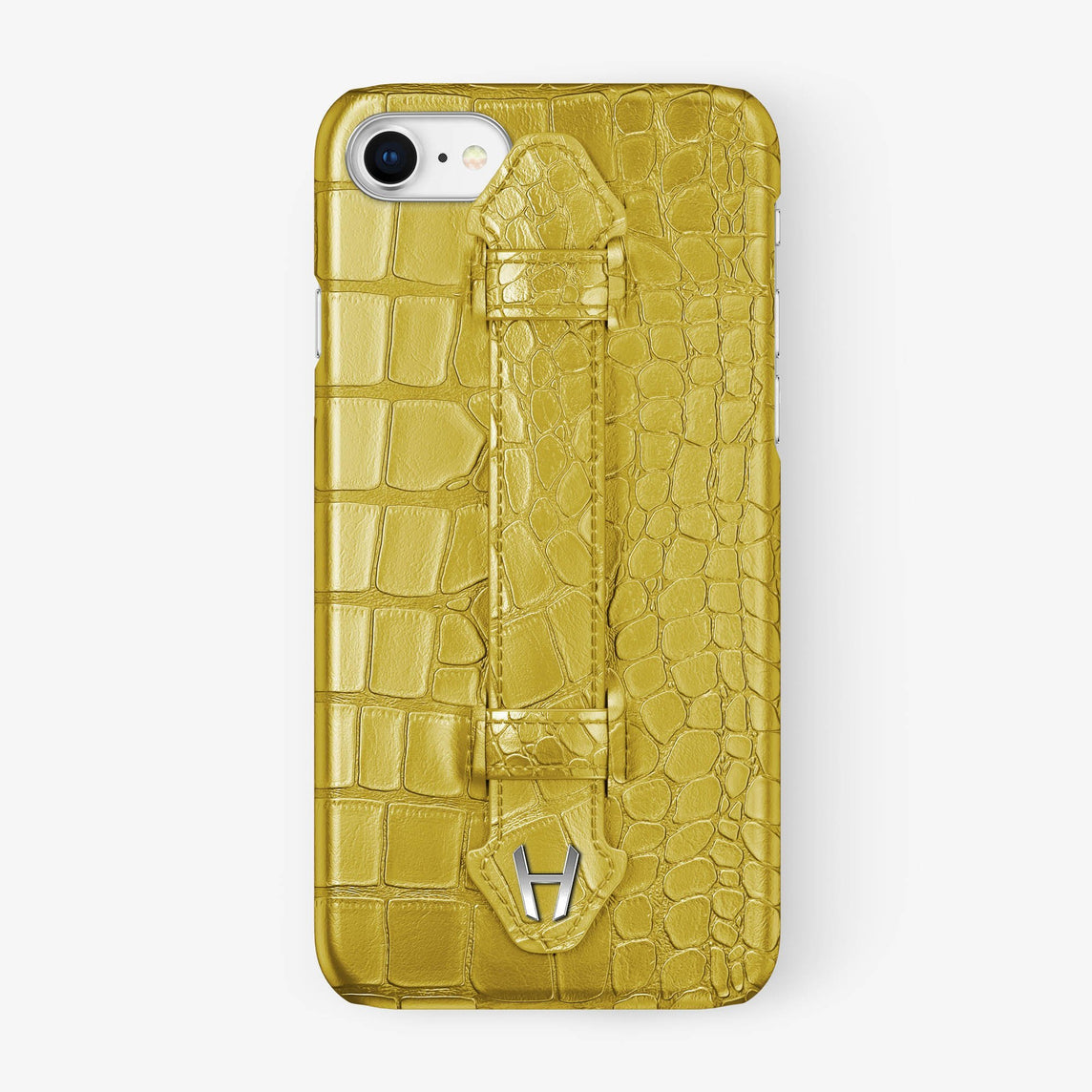 Yellow Alligator iPhone Finger Case for iPhone 7/8 finishing stainless steel - Hadoro Luxury Cases