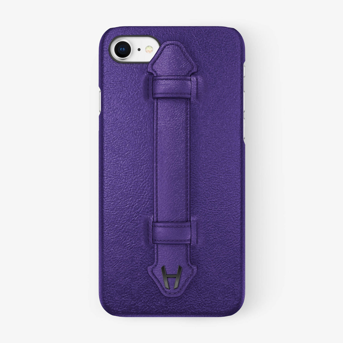 Purple Calfskin iPhone Finger Case for iPhone 7/8 finishing black - Hadoro Luxury Cases