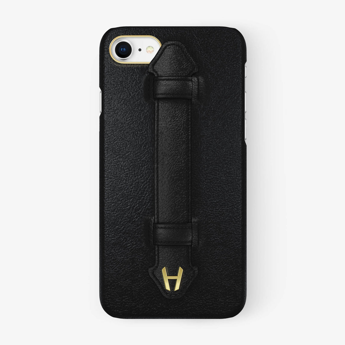 Calfskin Finger Case iPhone 7/8 | Black - Yellow Gold