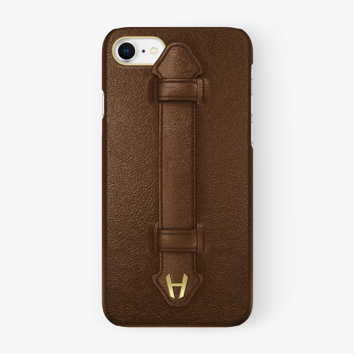 Calfskin Finger Case iPhone 7/8 | Brown - Yellow Gold without-personalization