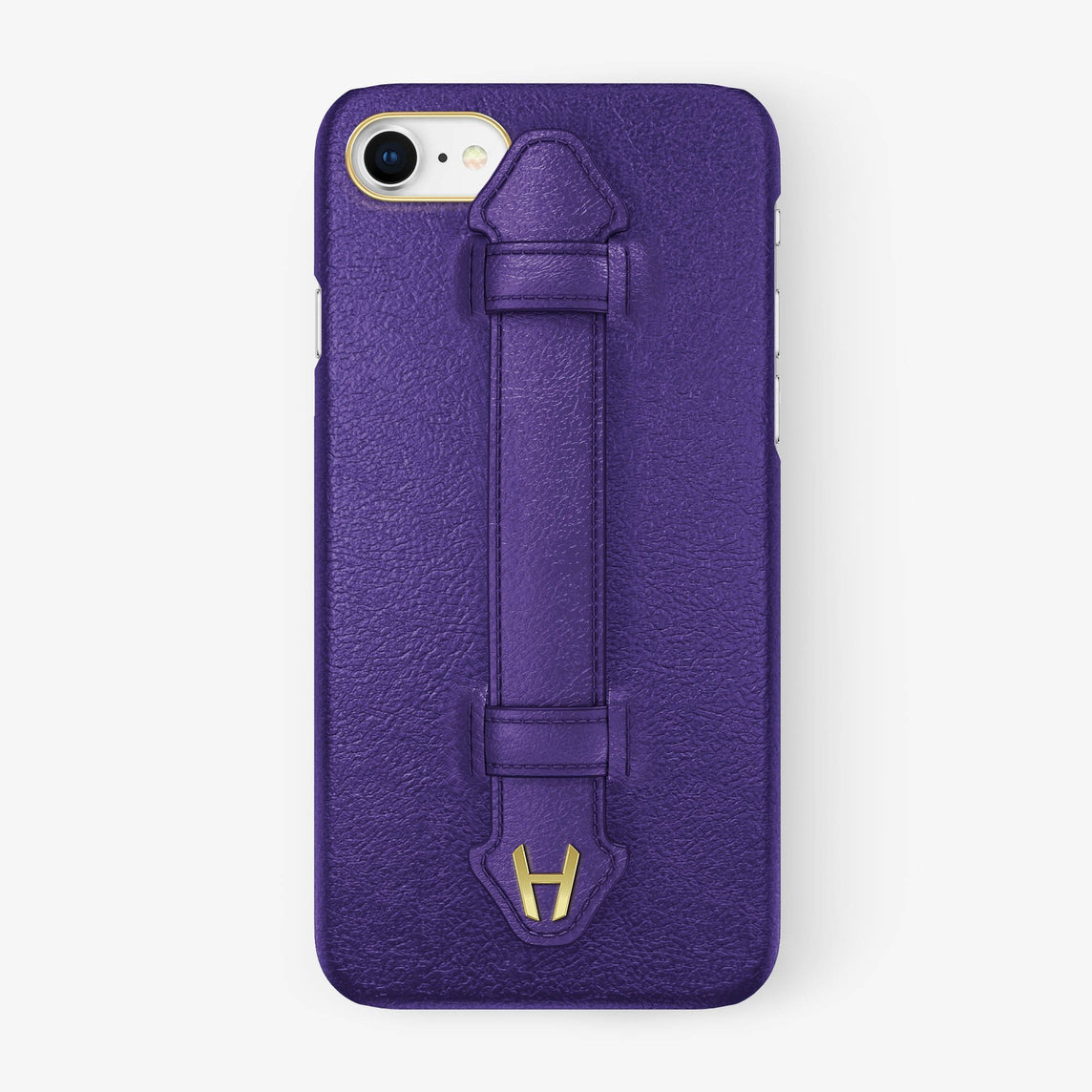 Purple Calfskin iPhone Finger Case for iPhone 7/8 finishing yellow gold - Hadoro Luxury Cases