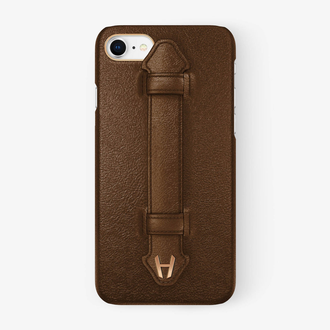 Calfskin Finger Case iPhone 7/8 | Brown - Rose Gold without-personalization
