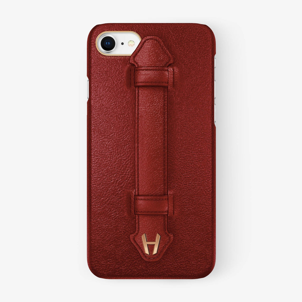 Calfskin Finger Case iPhone 7/8 | Red - Rose Gold without-personalization