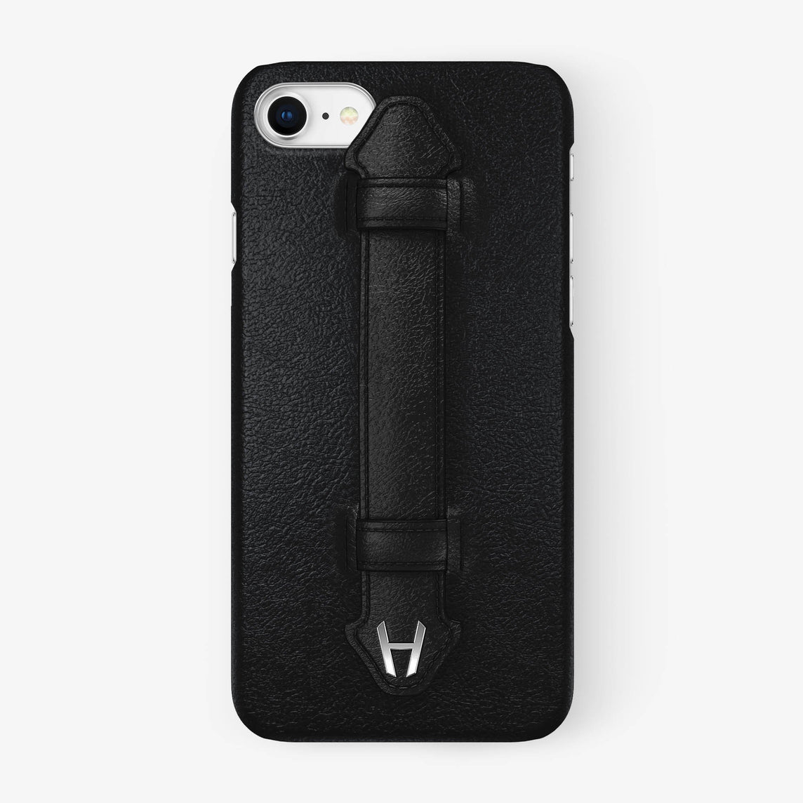 Calfskin Finger Case iPhone 7/8 | Black - Stainless Steel