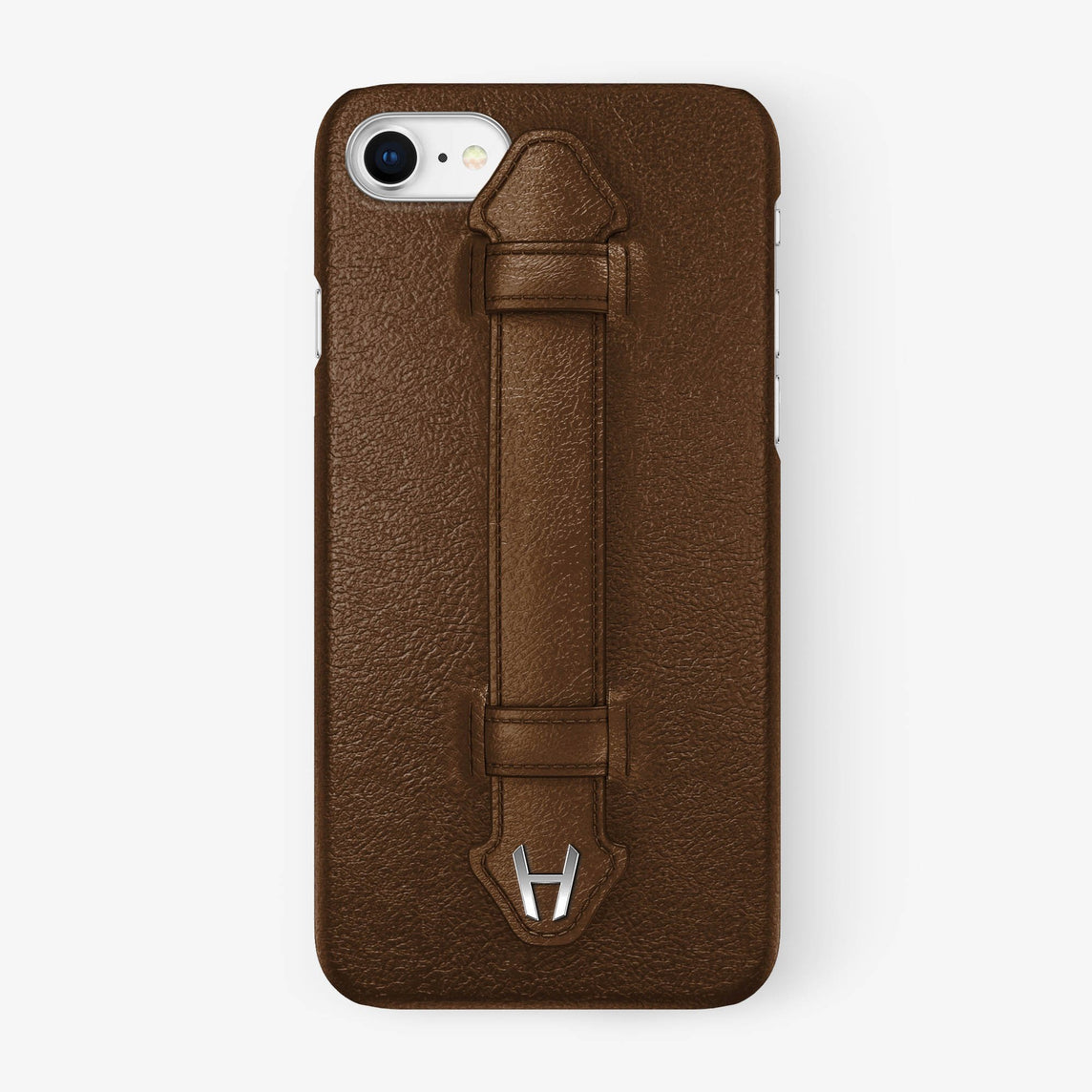 Brown Calfskin iPhone Finger Case for iPhone 7/8 finishing stainless steel - Hadoro Luxury Cases