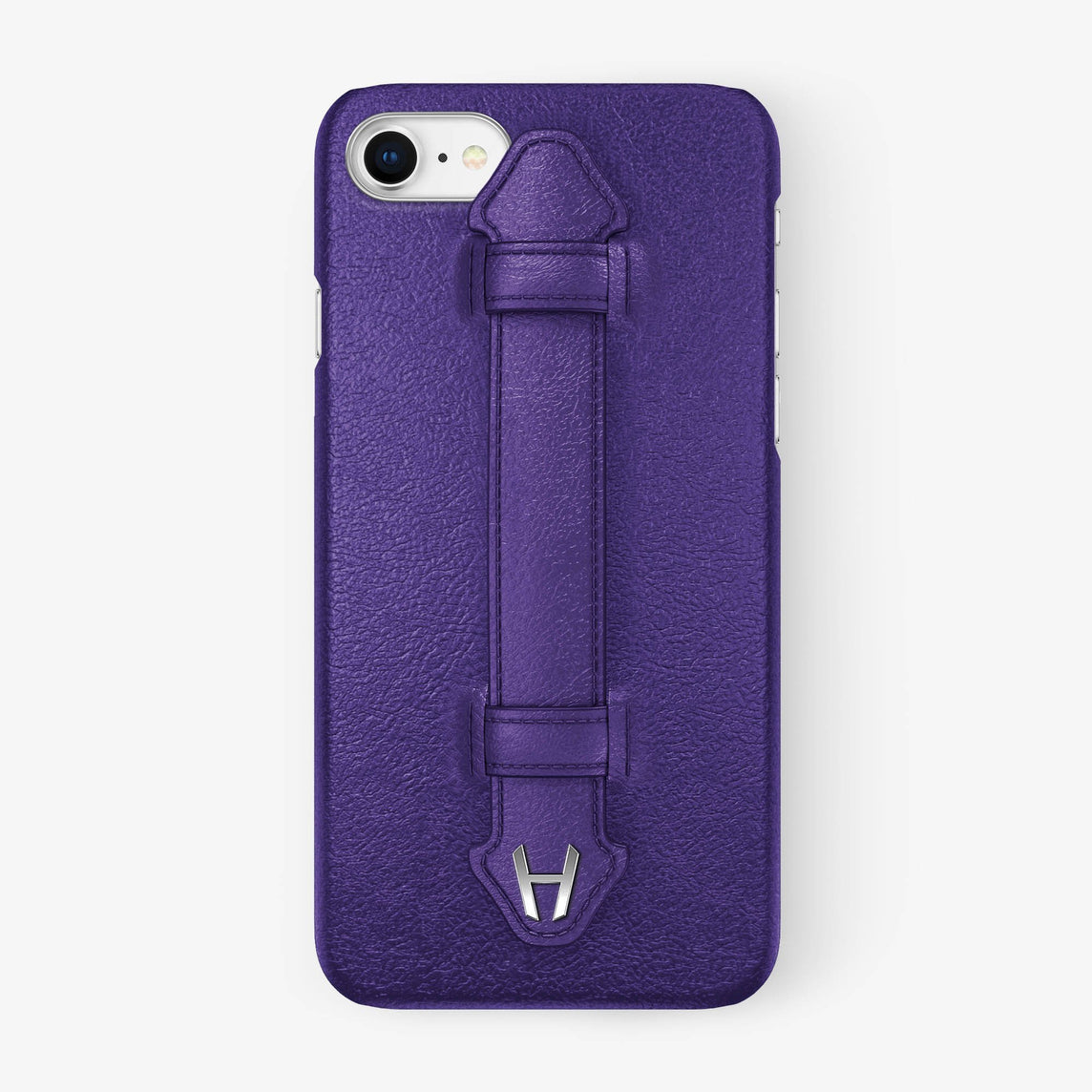 Purple Calfskin iPhone Finger Case for iPhone 7/8 finishing stainless steel - Hadoro Luxury Cases