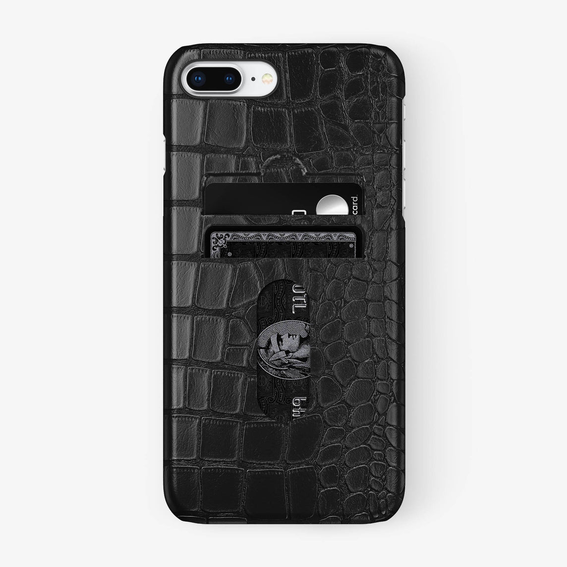 Alligator Card Holder Case iPhone 7/8 Plus | Black - Black