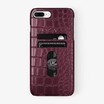 Alligator Card Holder Case iPhone 7/8 Plus | Burgundy - Black