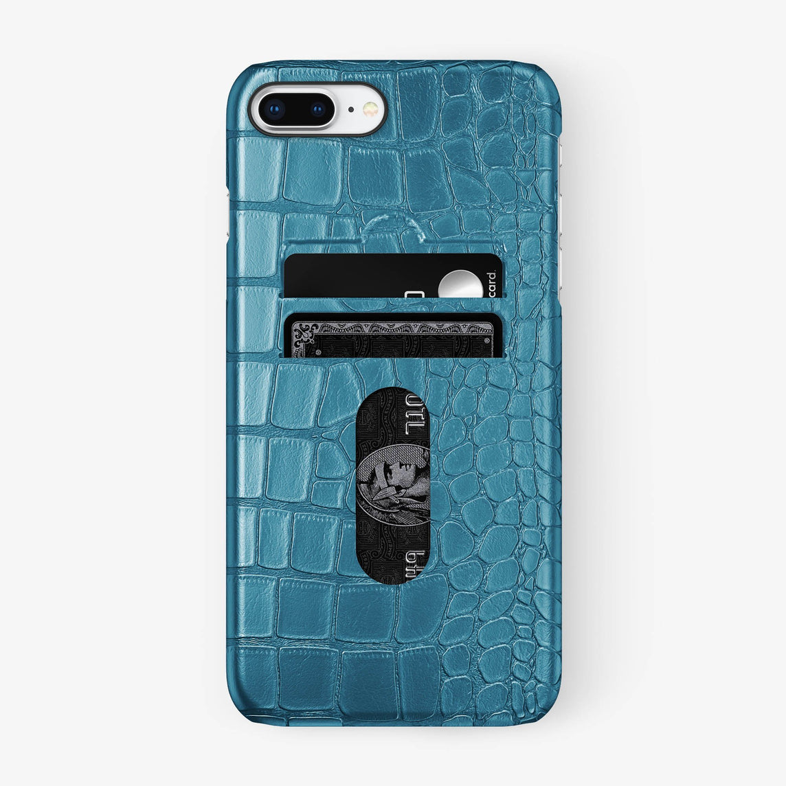 Alligator Card Holder Case iPhone 7/8 Plus | Teal - Black - Hadoro