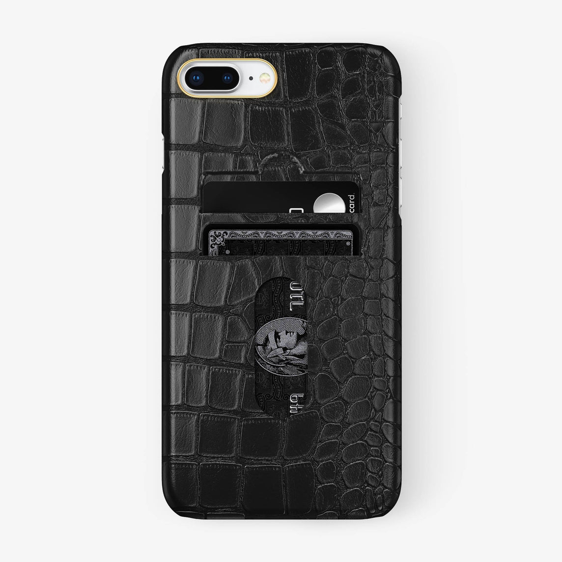 Alligator Card Holder Case iPhone 7/8 Plus | Black - Yellow Gold