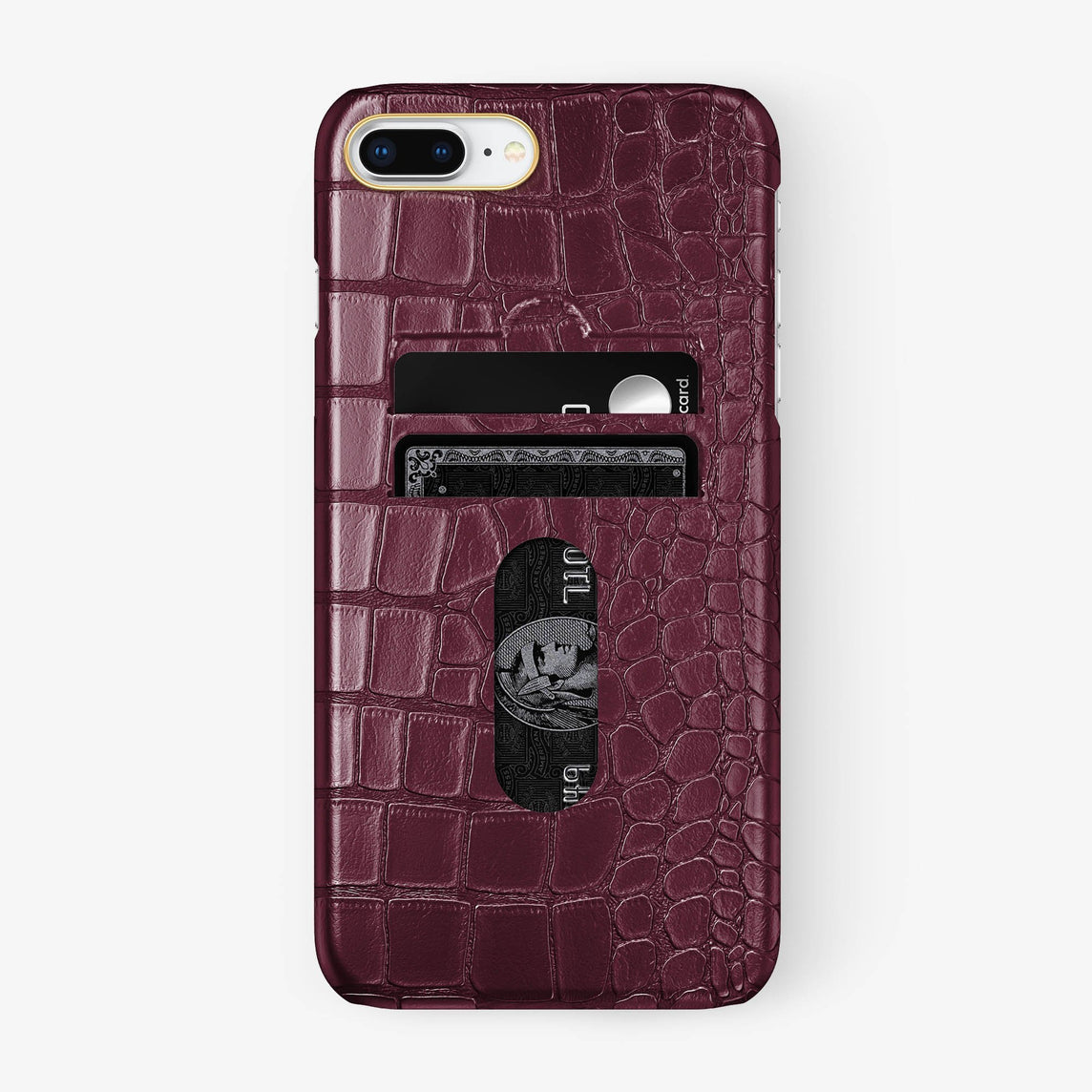 Alligator Card Holder Case iPhone 7/8 Plus | Burgundy - Yellow Gold