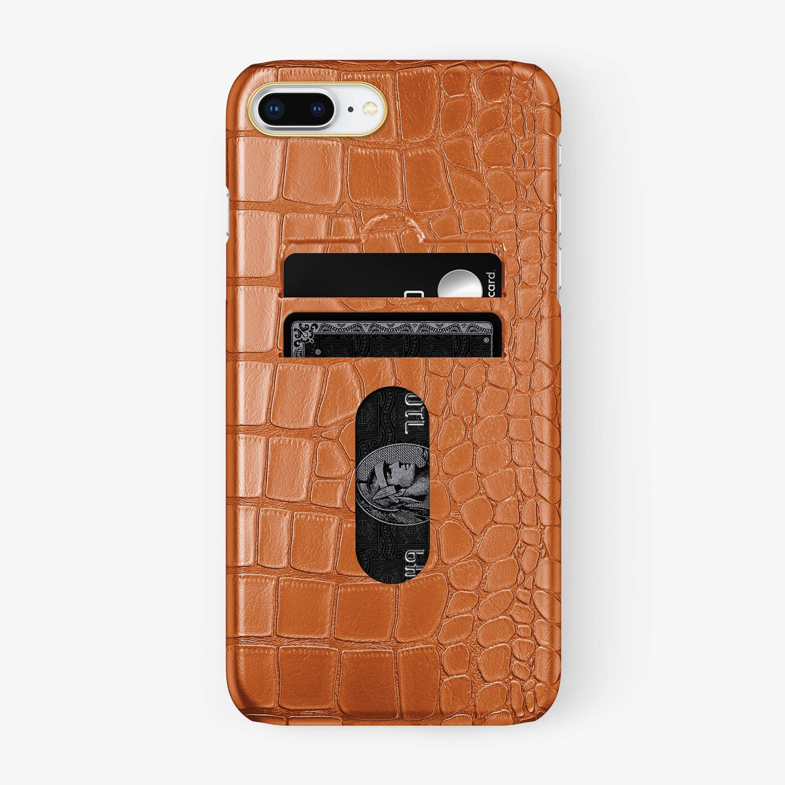 Alligator Card Holder Case iPhone 7/8 Plus | Orange - Yellow Gold