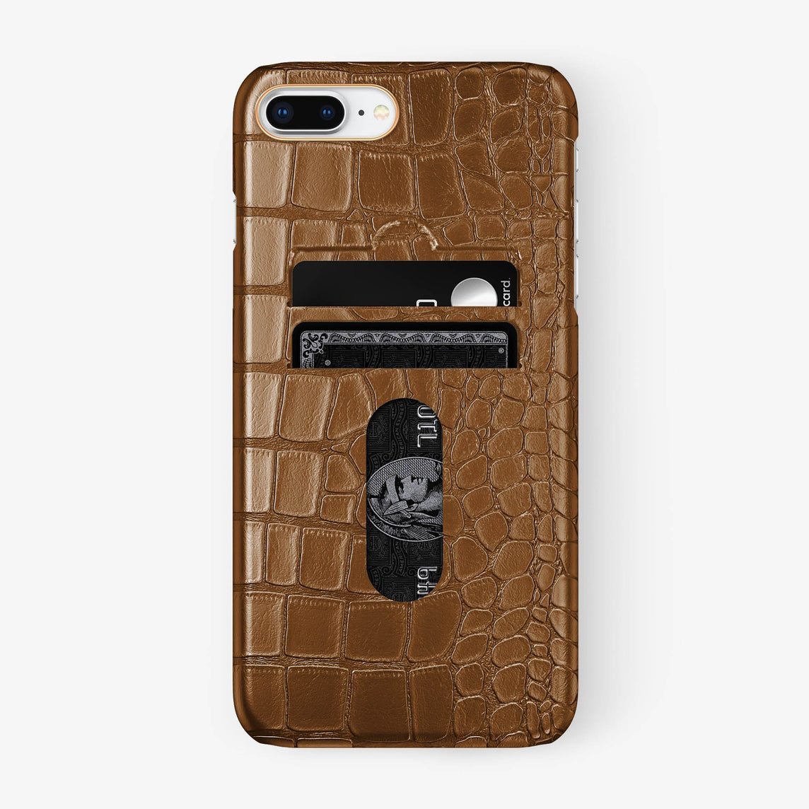 Alligator Card Holder Case iPhone 7/8 Plus | Cognac - Rose Gold