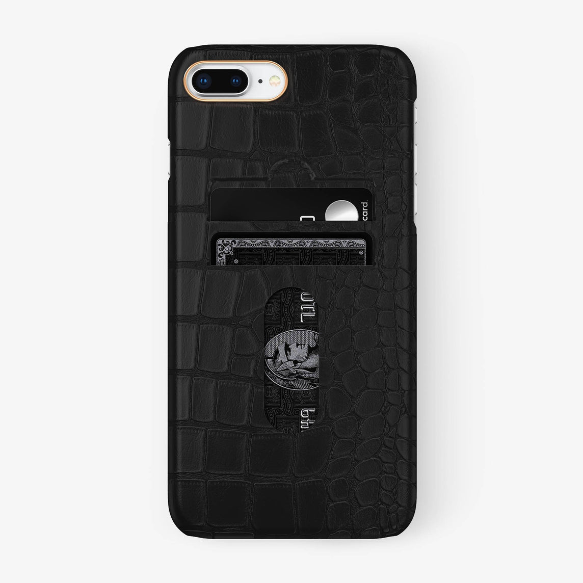 Alligator Card Holder Case iPhone 7/8 Plus | Phantom Black - Rose Gold - Hadoro