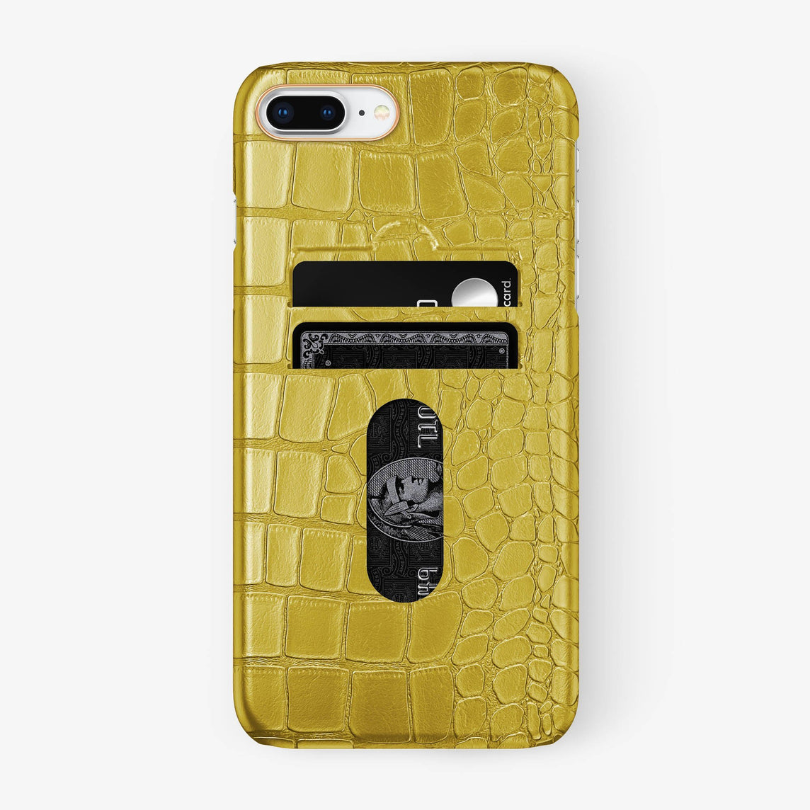 Alligator Card Holder Case iPhone 7/8 Plus | Yellow - Rose Gold - Hadoro