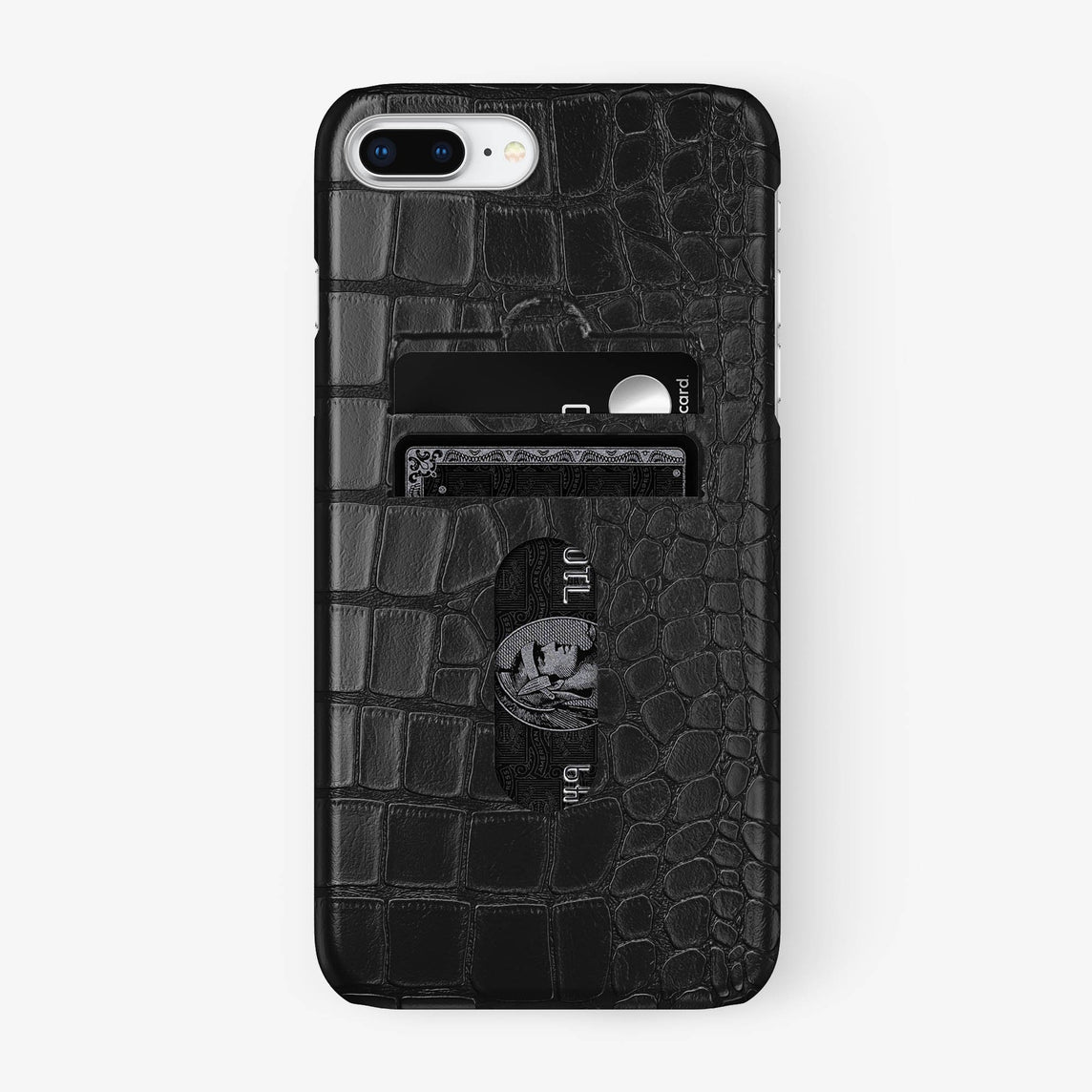Alligator Card Holder Case iPhone 7/8 Plus | Black - Stainless Steel