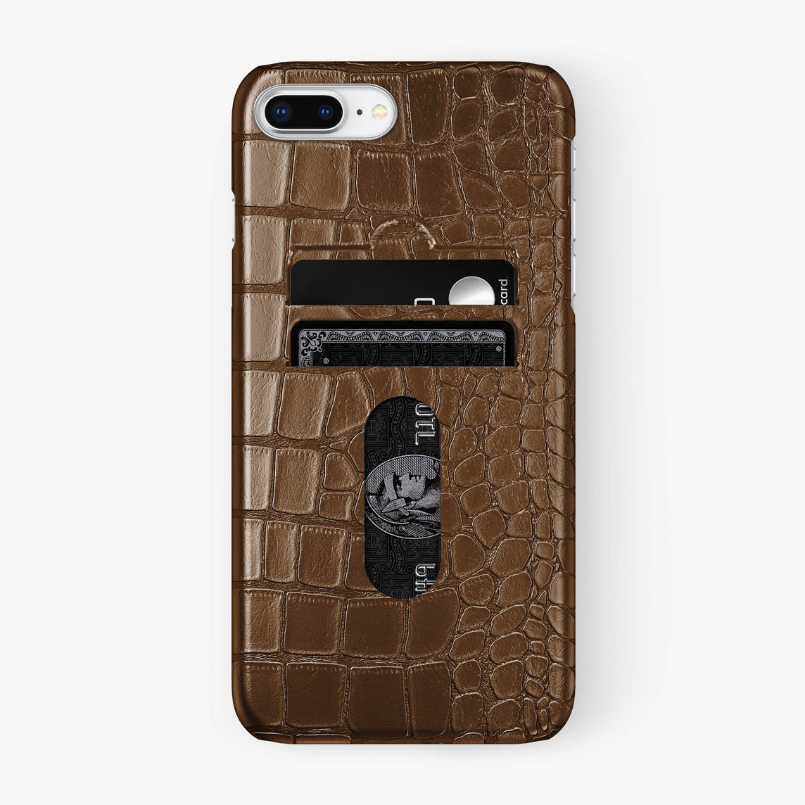 Alligator Card Holder Case iPhone 7/8 Plus | Brown - Stainless Steel