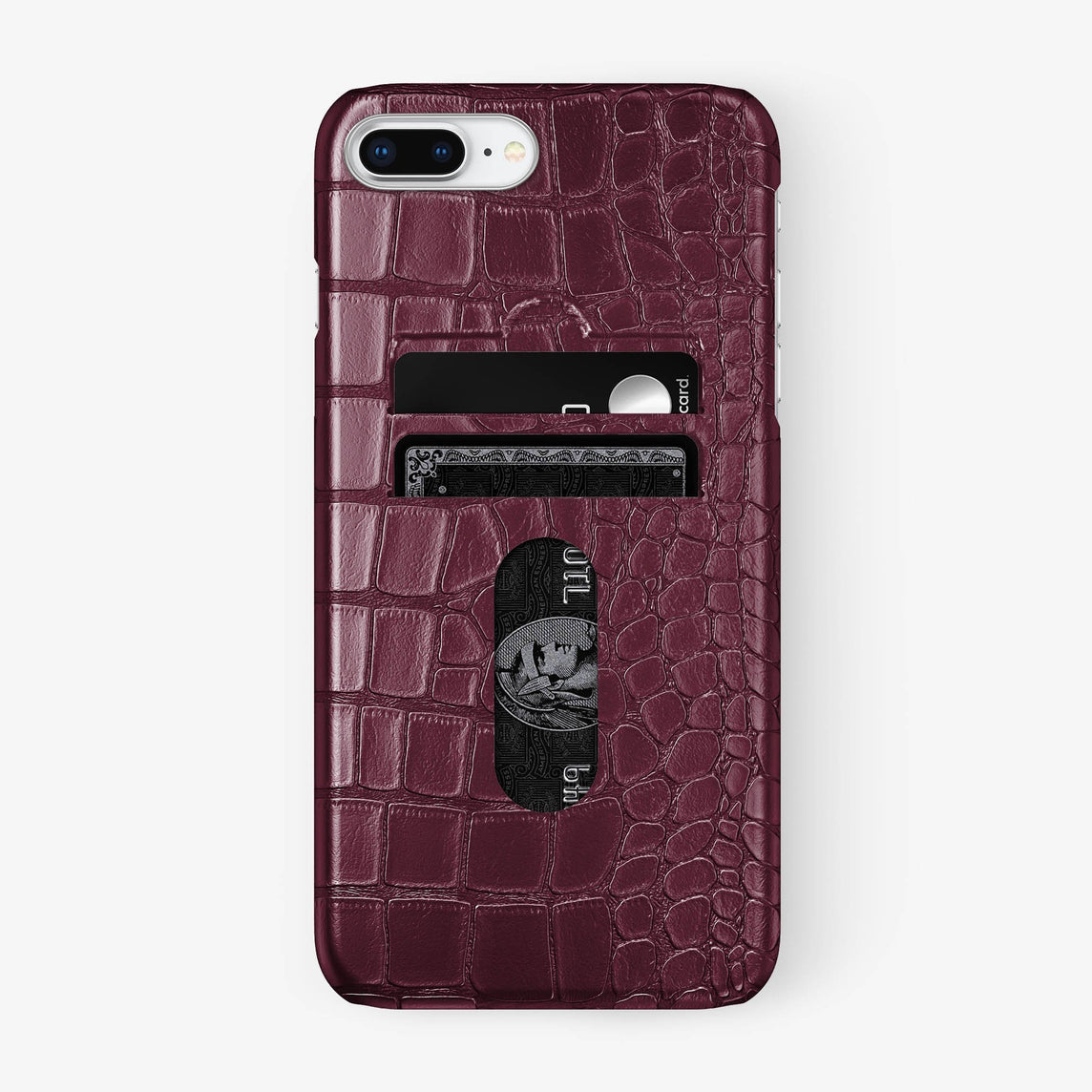 Alligator Card Holder Case iPhone 7/8 Plus | Burgundy - Stainless Steel - Hadoro
