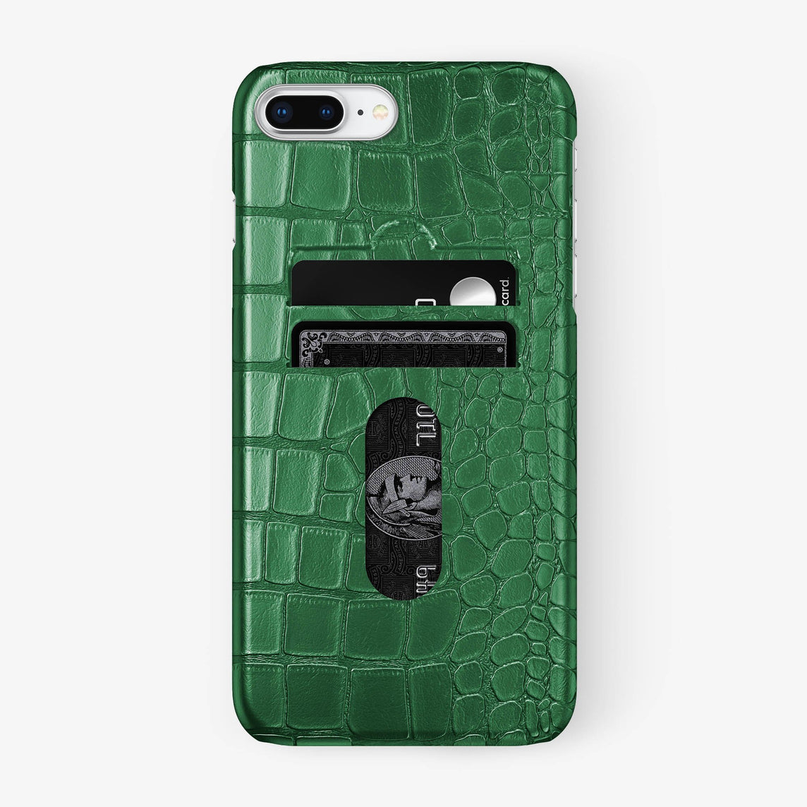 Alligator Card Holder Case iPhone 7/8 Plus | Green - Stainless Steel