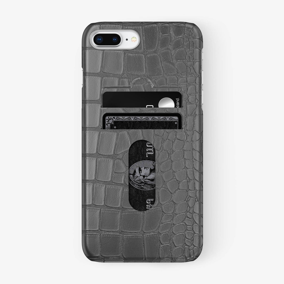 Alligator Card Holder Case iPhone 7/8 Plus | Grey - Stainless Steel