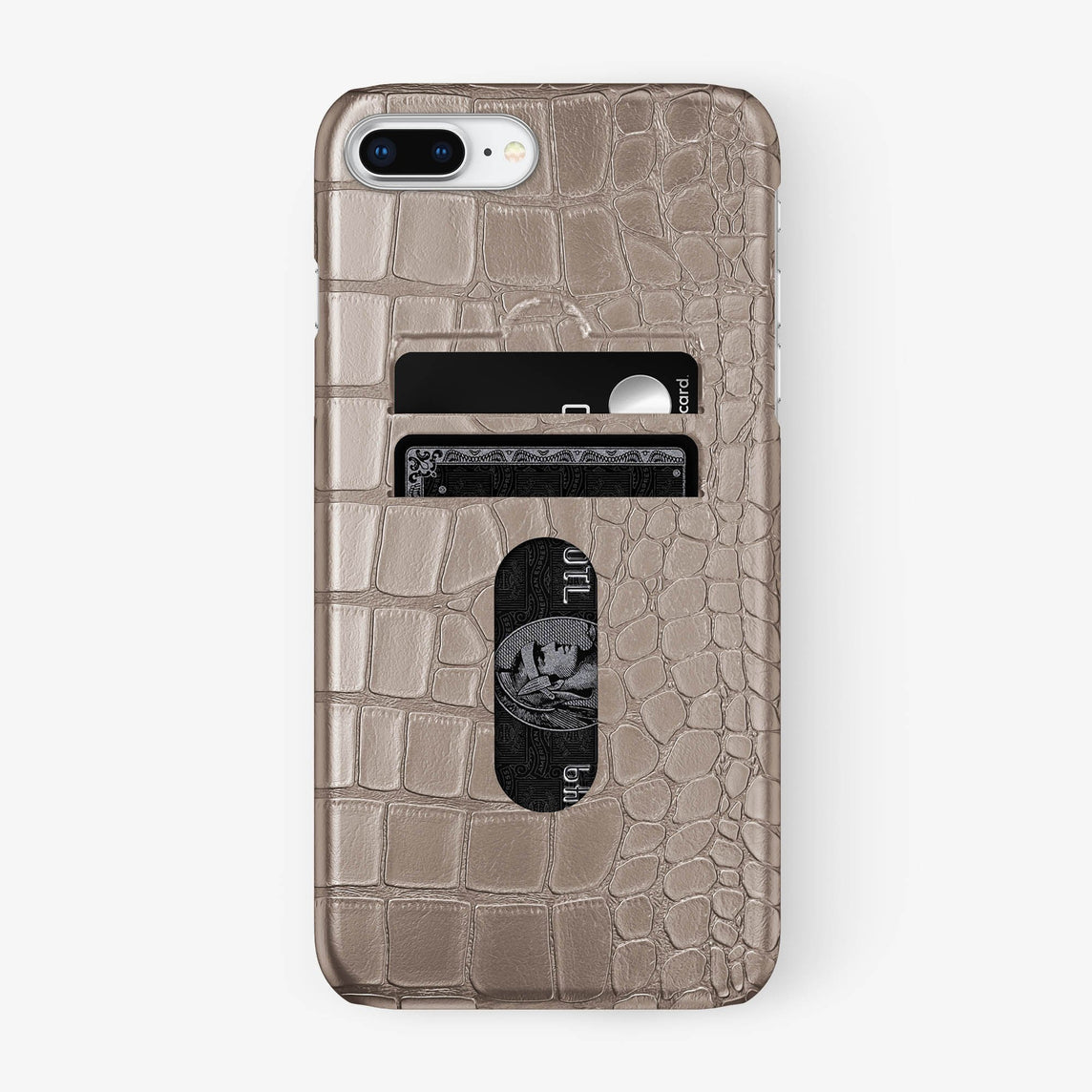 Alligator Card Holder Case iPhone 7/8 Plus | Latte - Stainless Steel