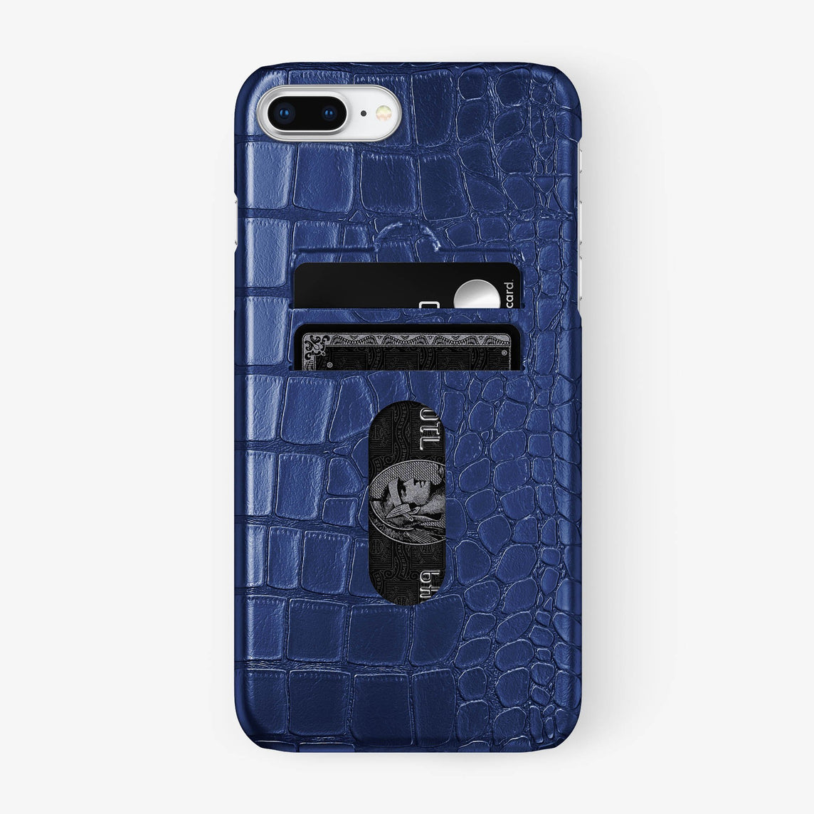 Alligator Card Holder Case iPhone 7/8 Plus | Navy Blue - Stainless Steel - Hadoro