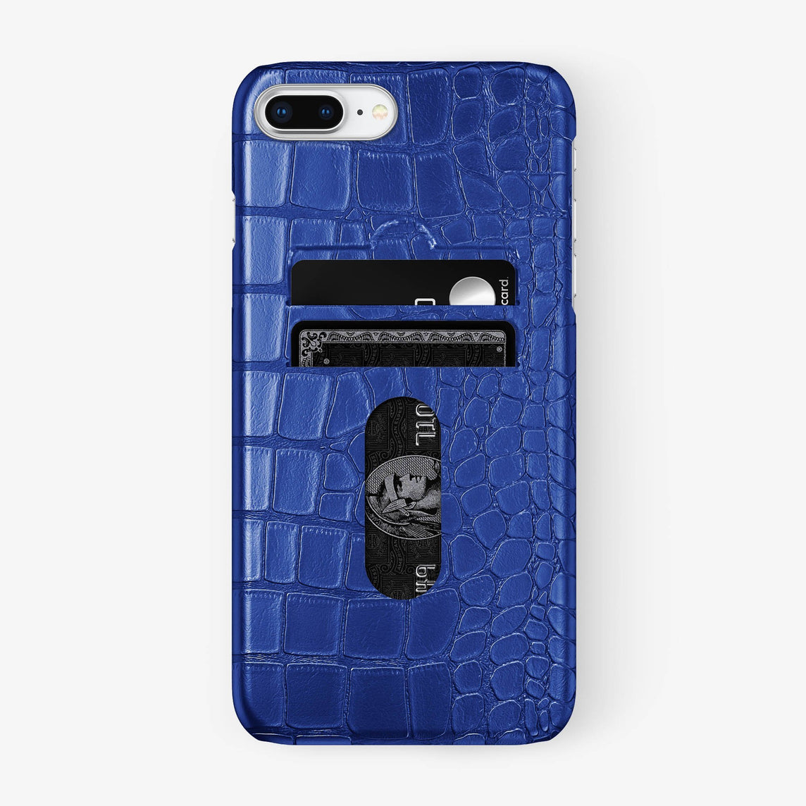 Alligator Card Holder Case iPhone 7/8 Plus | Peony Blue - Stainless Steel
