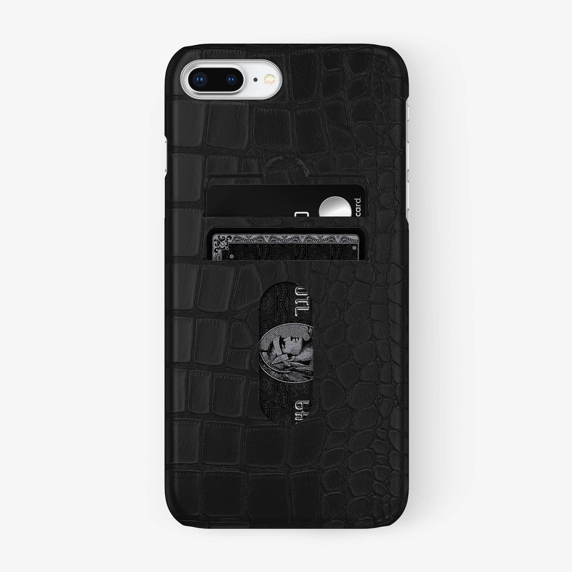 Alligator Card Holder Case iPhone 7/8 Plus | Phantom Black - Stainless Steel - Hadoro