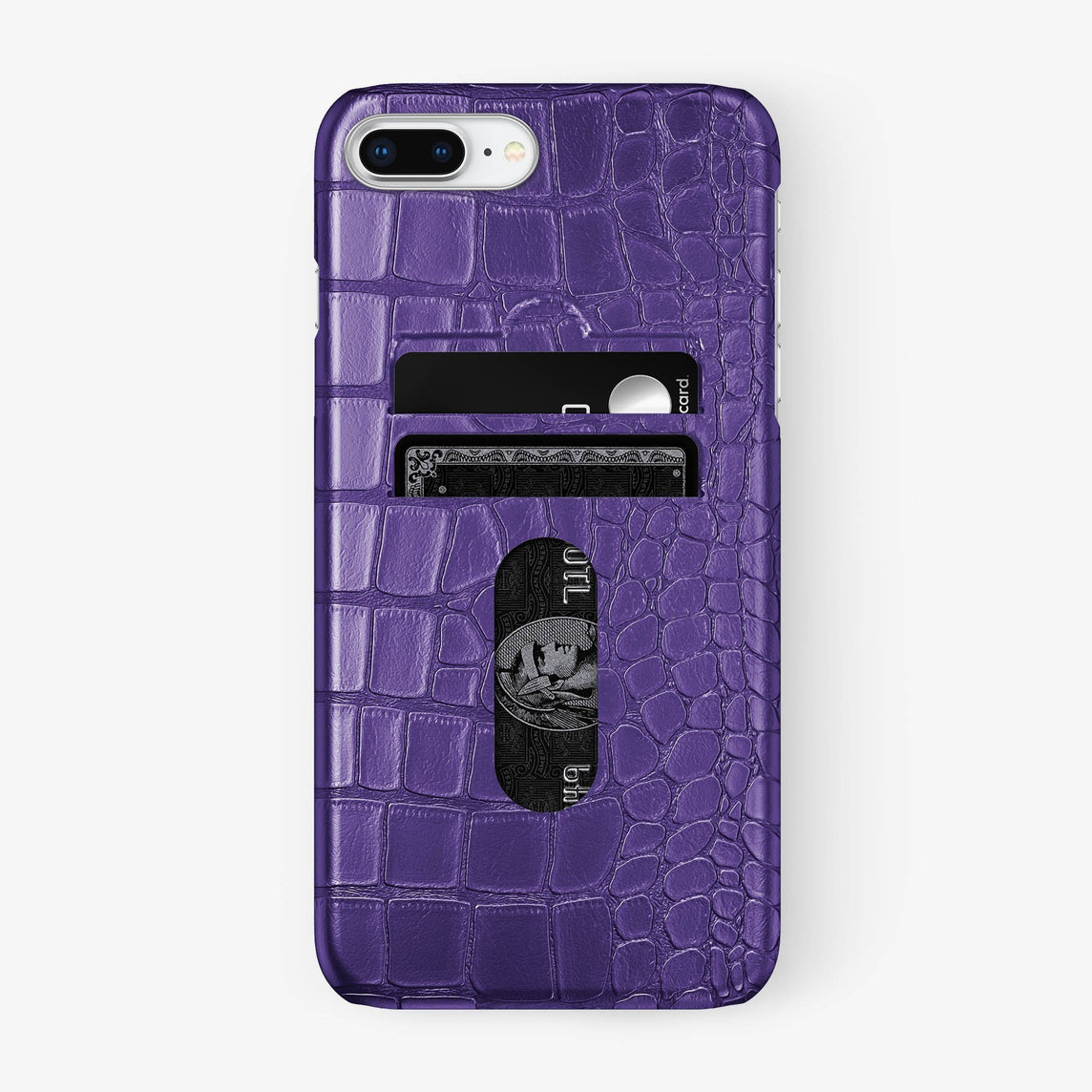 Alligator Card Holder Case iPhone 7/8 Plus | Purple - Stainless Steel - Hadoro