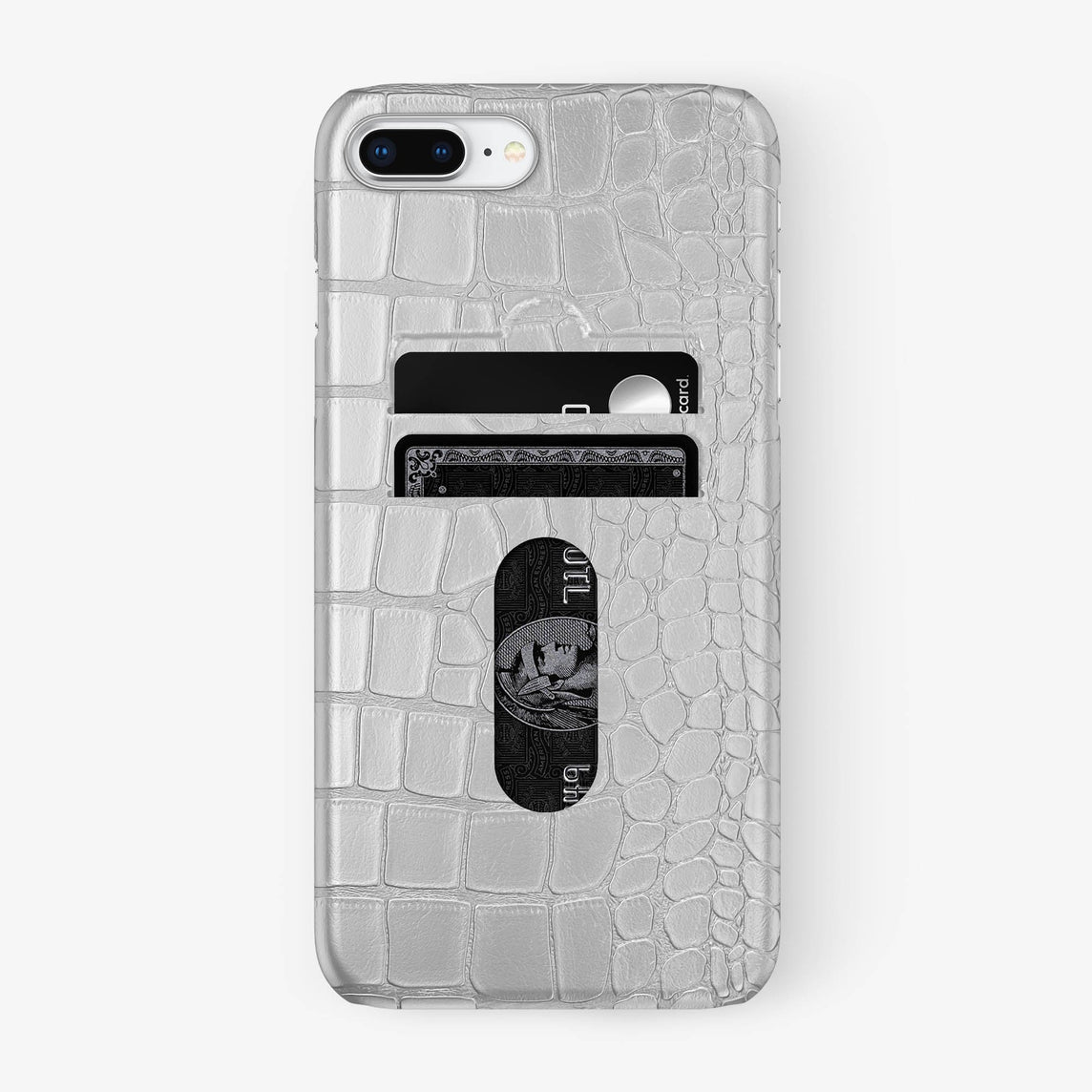 Alligator Card Holder Case iPhone 7/8 Plus | White - Stainless Steel - Hadoro