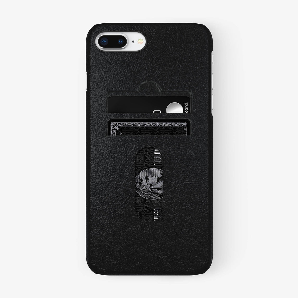 Calfskin Card Holder Case iPhone 7/8 Plus | Black - Black