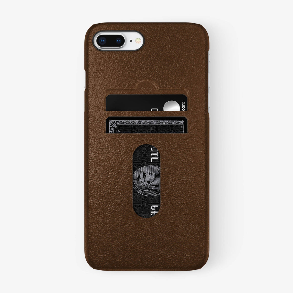 Brown Calfskin iPhone Card Holder Case for iPhone 7/8 Plus finishing black - Hadoro Luxury Cases