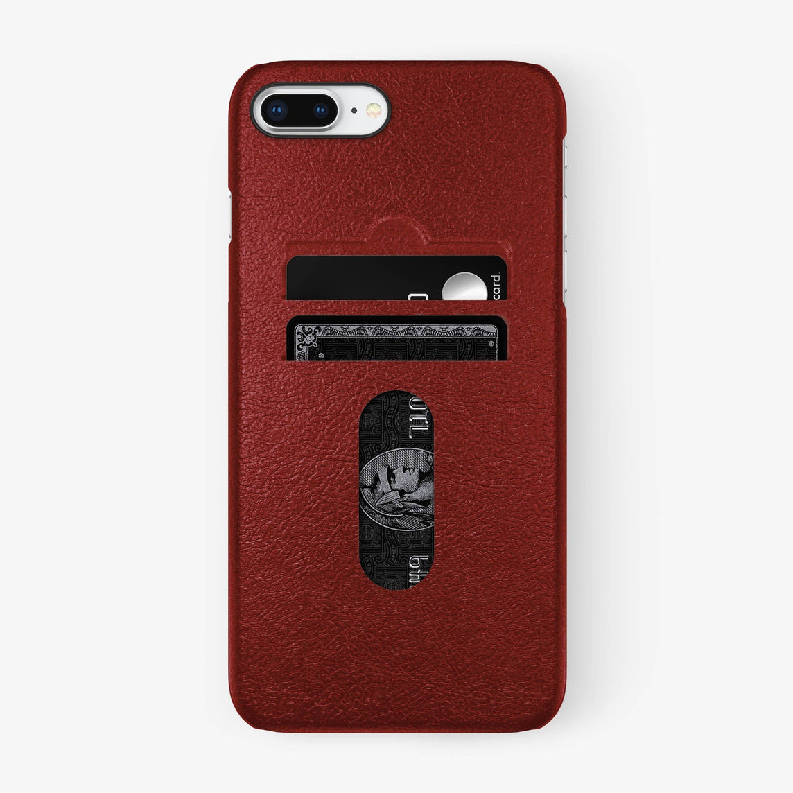 Red Calfskin iPhone Card Holder Case for iPhone 7/8 Plus finishing black - Hadoro Luxury Cases