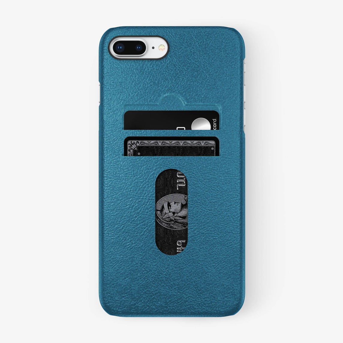 Calfskin Card Holder Case iPhone 7/8 Plus | Teal - Black