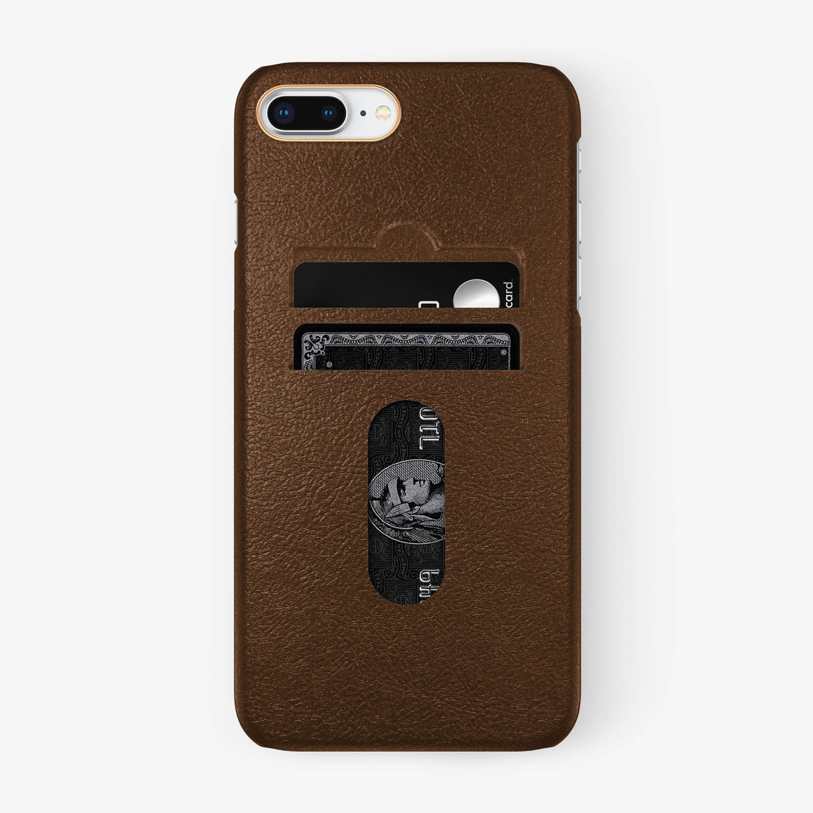 Calfskin Card Holder Case iPhone 7/8 Plus | Brown - Rose Gold