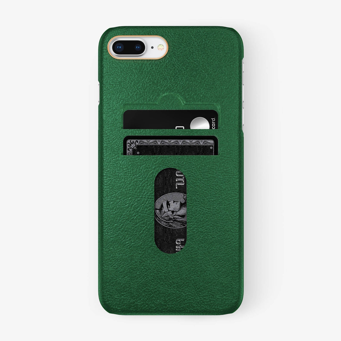 Calfskin Card Holder Case iPhone 7/8 Plus | Green - Rose Gold