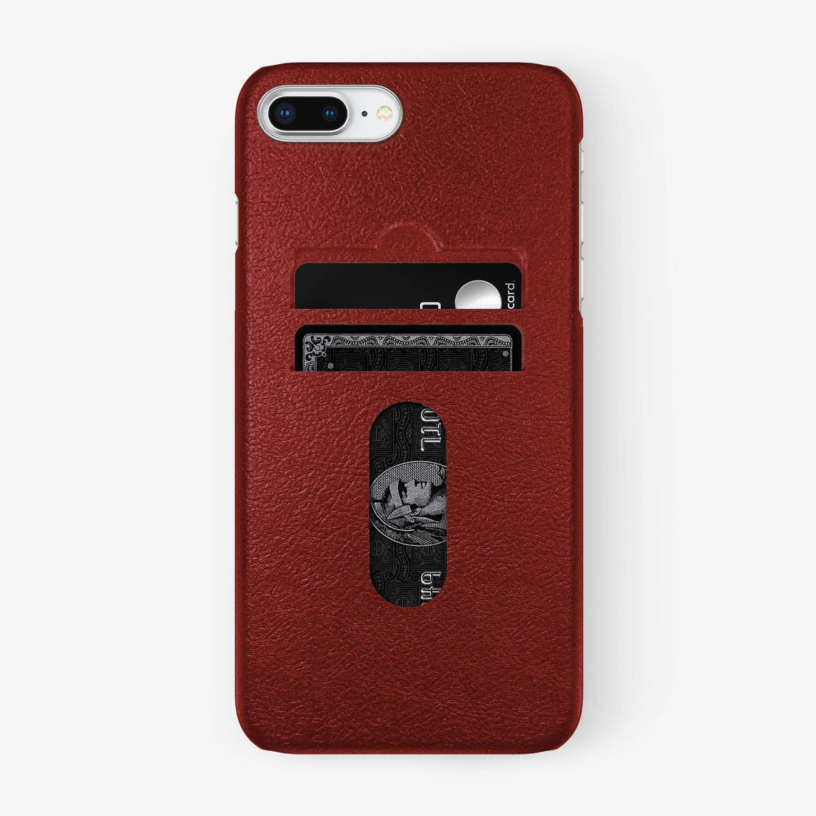 Calfskin Card Holder Case iPhone 7/8 Plus | Red - Stainless Steel