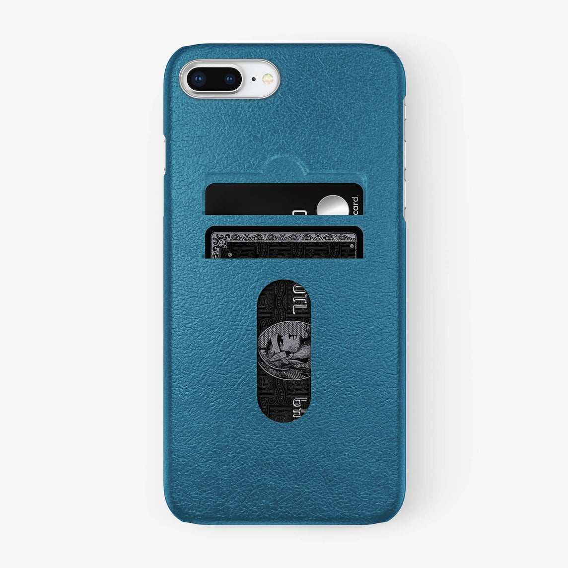 Calfskin Card Holder Case iPhone 7/8 Plus | Teal - Stainless Steel