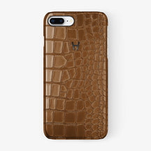 Alligator Case iPhone 7/8 Plus | Cognac - Black - Hadoro