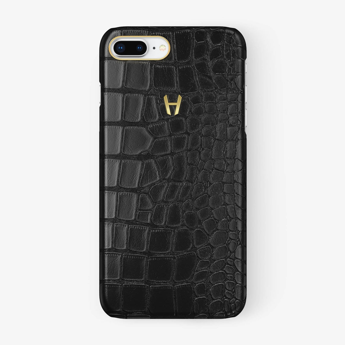 Alligator Case iPhone 7/8 Plus | Black - Yellow Gold - Hadoro