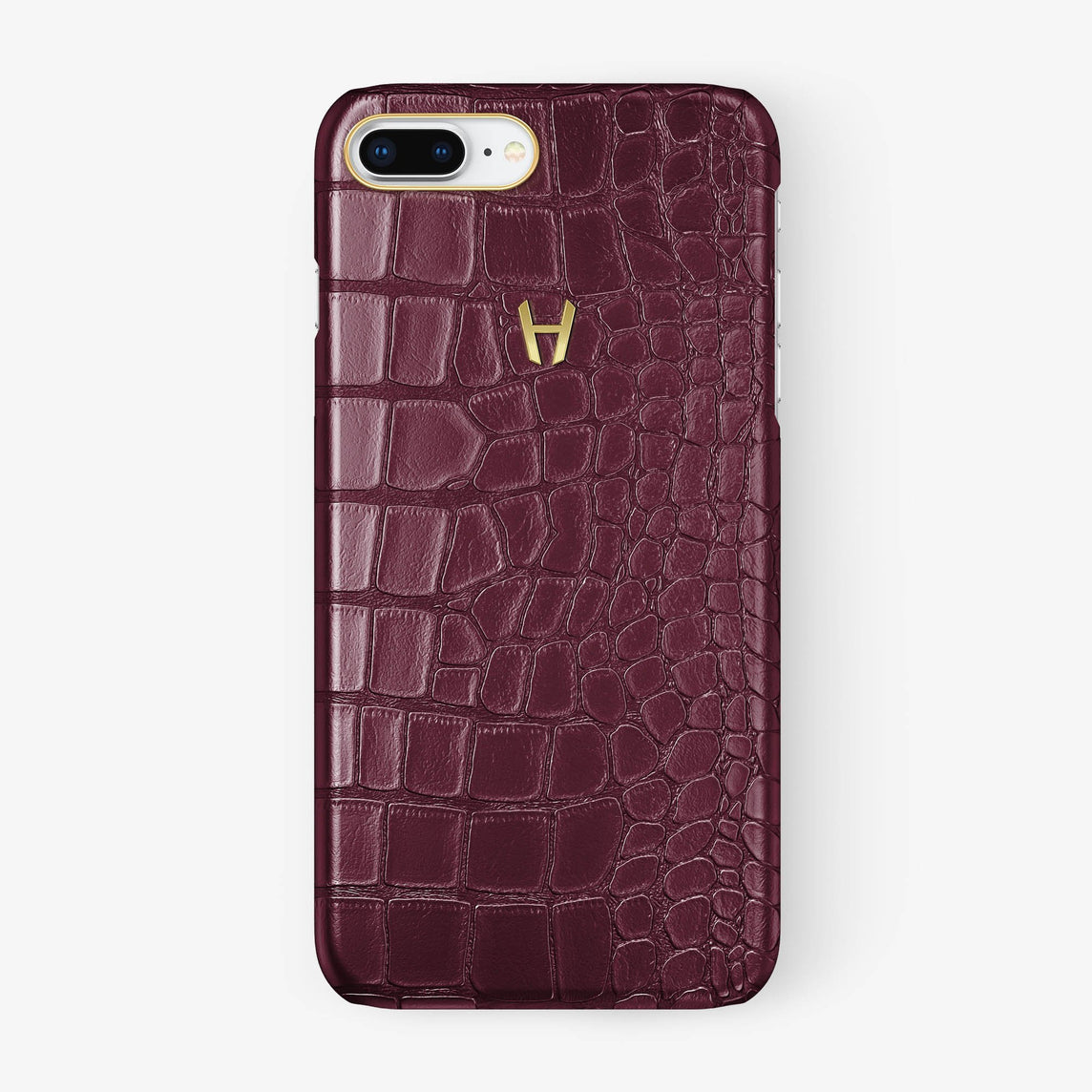 Alligator Case iPhone 7/8 Plus | Burgundy - Yellow Gold