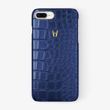 Alligator Case iPhone 7/8 Plus | Navy Blue - Yellow Gold