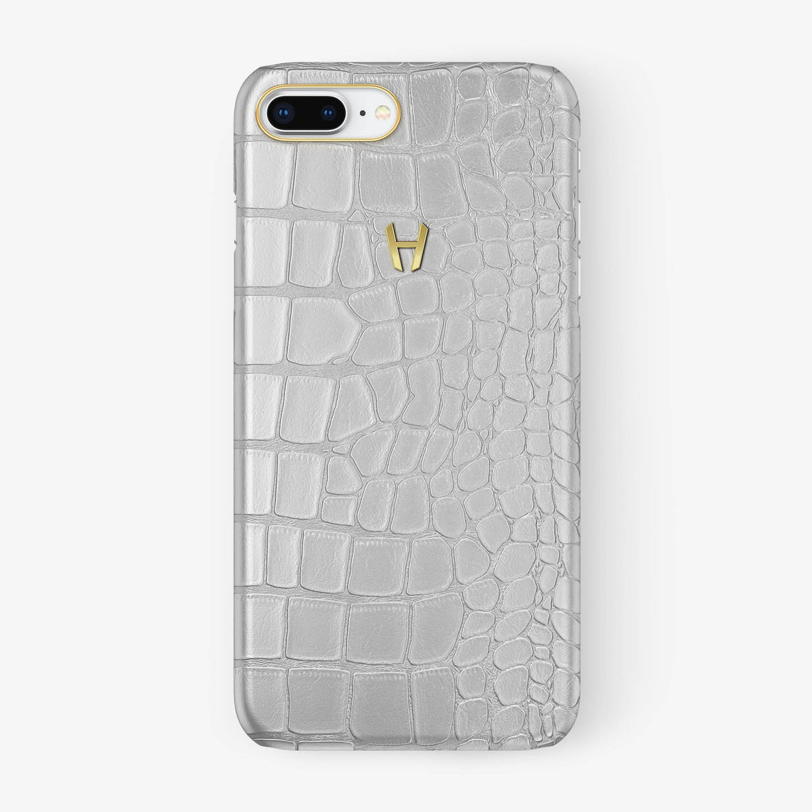 Alligator Case iPhone 7/8 Plus | White - Yellow Gold - Hadoro